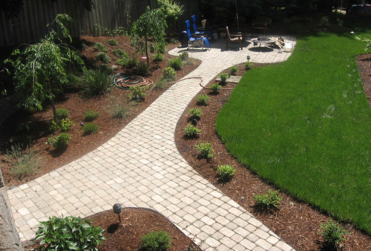 Paver paths with patio